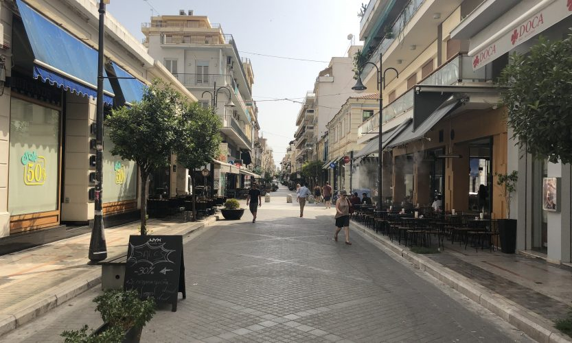 A picture of the entertainment district in Patras, Greece.