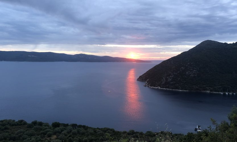 The sun setting on the Islands of Cephalonia and Ithaca, Greece.